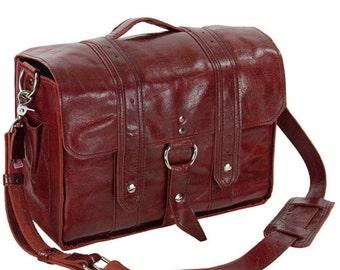 "14""x6"" Italian Leather Diaper Bag Georgetown Style  - Handmade in the U.S.A - 14-V-IR-DIAP"
