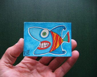 Fish J-51, ACEO Original Watercolor