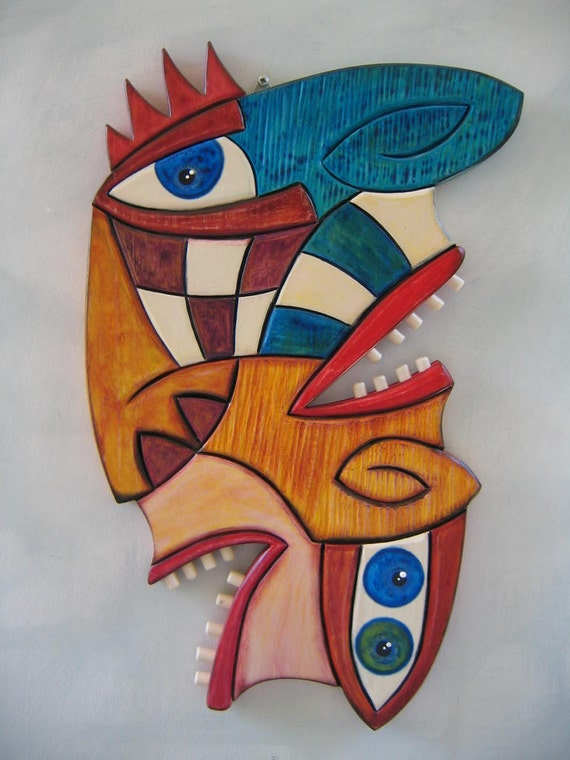 State Of Confusion, Original Wood Carving, Wall Art, by Fig Jam Studio