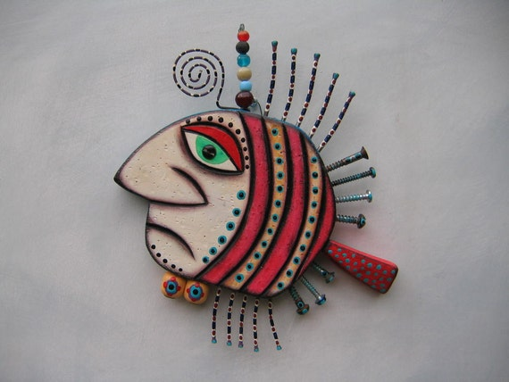 Twisted Fish, Original Wall Sculpture by Fig Jam Studio