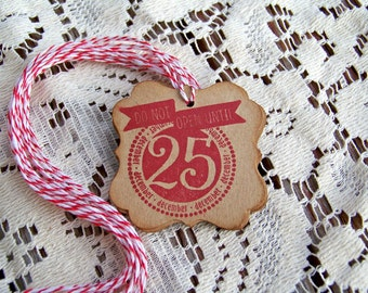 Christmas Gift Tag Do Not Open Until Whimisical holiday gift tag