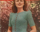 Cherry Blossom, WWII-era cardigan c. 1940s - vintage knitting pattern PDF (449)