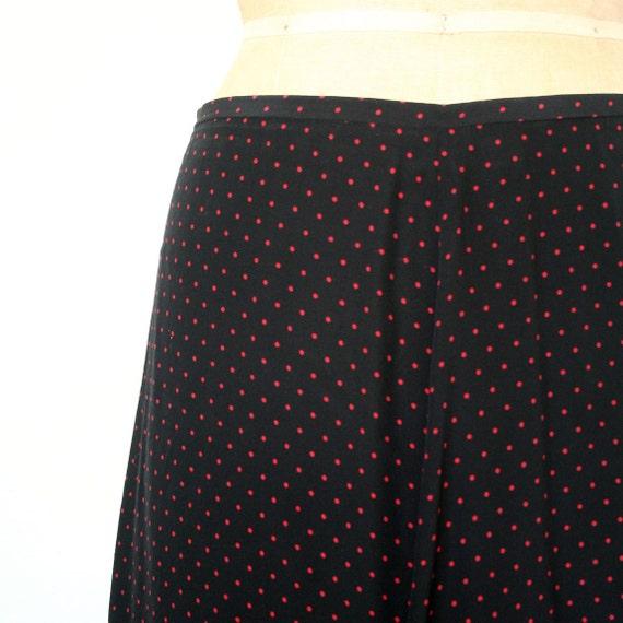 vintage long skirt POLKA DOT black & red SILK Evan Picone 1980's  grunge