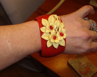 Enchanting, Special, Wide 1930's Red CELLULOID Vintage BANGLE Bracelet W/Carved & Etched Celluloid/Ivory Floral Spray -  Treasury Item X4