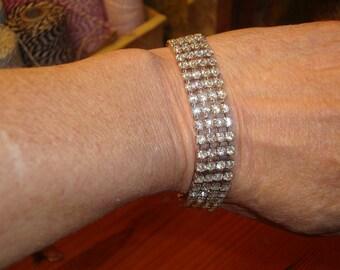 Exquisite FOUR-STRAND Clear Rhinestone Vintage Bracelet - 1950's