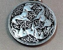 Pewter Celtic Epona Medallion, Celtic Medallion, Horse Medallion, Epona Pendant