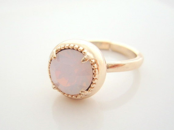 Pink Opal Crystal Rose Gold Ring - Round Cut Swarovski Crystal on Adjustable Ring - Rose Gold Jewelry