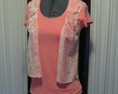 Reconstructed Recycled EcoFriendly Ladies' Top SS Sz Small Salmon Pink Embellished with Ethnic Indian Asian