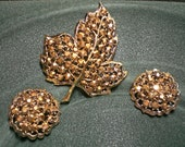 Signed WEISS Gold Aurora Borealis Rhinestone Leaf Brooch & Round Clip Earrings