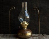 Victorian Brass Oil Lamp- Glass Shade Wall Hanging
