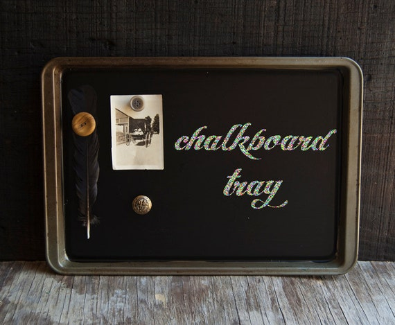 Chalkboard Tray with Magnets - Vintage Upcycled