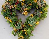 "HOLD for Trista: Succulent Wreath 14"" Heart Shape"