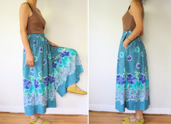 vintage women cobalt blue teal green purple floral printed high waisted ankle length maxi wide leg pants palazzo culottes gaucho (large)