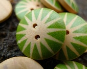 Green Stars-- a set of 10 pieces 18mm wood round button (S) BS01