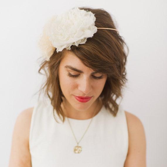 Bridal, Flower Crown, Wedding Halo with Handmade Chiffon Flowers, SALE
