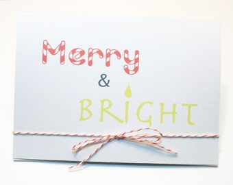 Holiday / Christmas Cards -- Merry & Bright -- Set of 10 Christmas / Holiday / Greeting / Celebration Cards and Envelopes