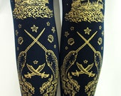Nautical Sailor Lolita Tights Narwhals Small Medium Gold on Navy Blue Women Tattoo Octopus