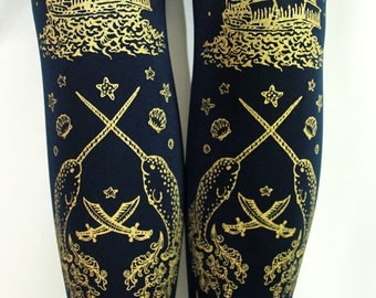 S M Nautical Pirate Tights Narwhals Small Medium Gold on Navy Blue Women Tattoo Sailor Lolita