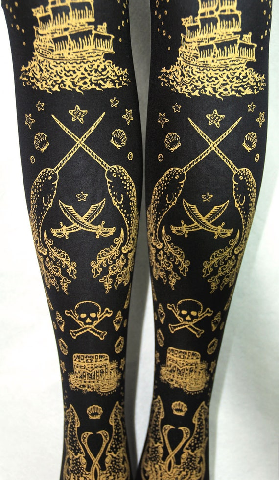 Pirate Printed XL Thigh High Stockings Gold on Black Extra Large Plus Size Womens Tattoo Narwhal