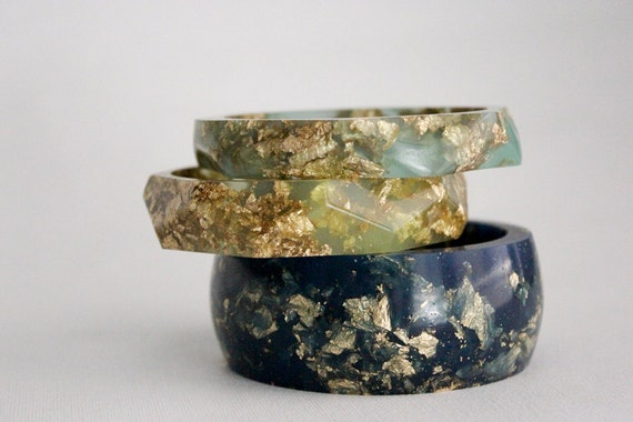 Starry night eco resin round bangle with suspended gold flakes
