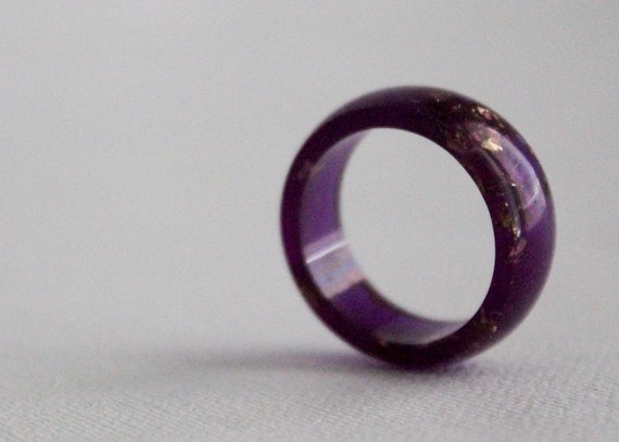 purple gold size 8 round resin eco resin ring