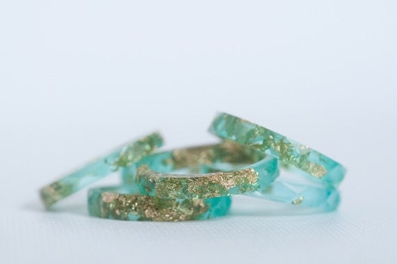 aqua and gold size 9.5 thin multifaceted eco resin ring