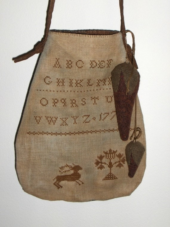 Primitive Sampler Schoolgirl Sewing Pouch
