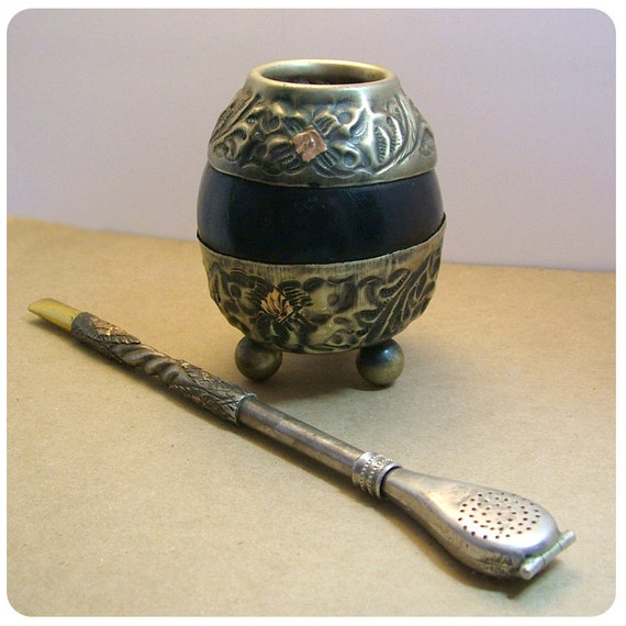 Vintage Yerba Mate Alpaca Gourd and Bombilla Made in Argentina