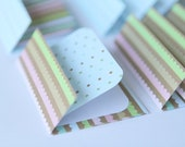 SALE Mini Cards n Envelopes - Set of 8 - Gingerbread Stripes with Tiny Dots