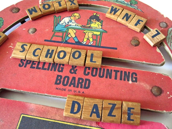 Spelling & Counting Board, vintage 1920s or 1930s, red wheel, back to school, school kids, nursery rhymes, storybook scenes