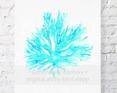 Sea Coral II in Turquoise Watercolor Print - Sea Coral Art Print - Sea Life Art