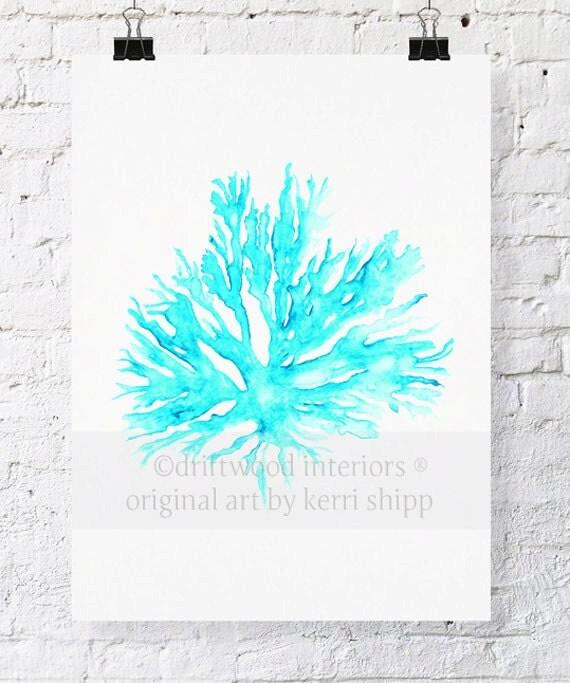 Sea Coral II in Turquoise Watercolor Print - Sea Coral Art Print - Sea Life Art