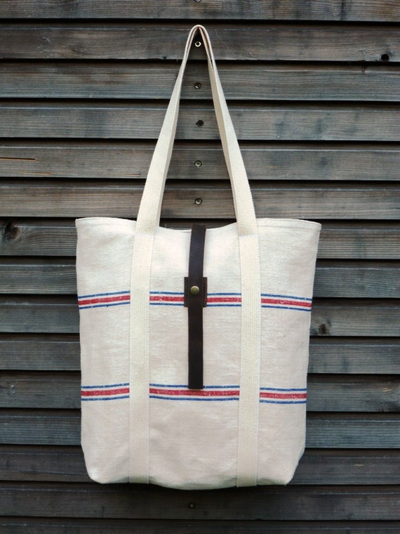 Holiday Special 20% discount recycled antique linen carry all/tote bag with push button closure