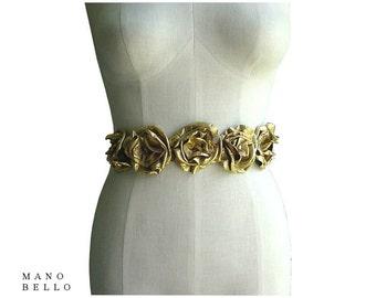Bridal Belt - Leather Flower belt - Gold Bridal sash Metallic Leather Flower Sash Gold Leather Flowerl Belt Wedding Dress Belt Sash in stock