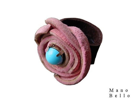 Leather Flower Ring Pink Flower Ring Turquoise Center in stock