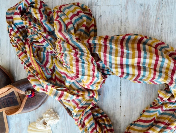 Silk scarf,  Shawl, stripes woman accesories-Recycled Silk Sari MU