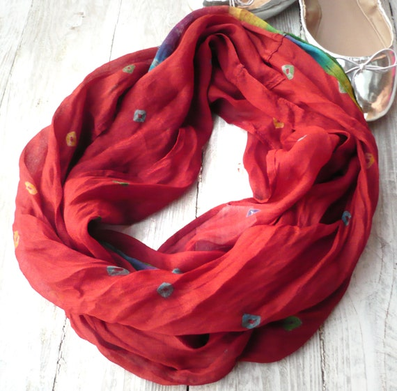Infinity Scarf red batik in recycled sari silk, Wearable Woman  accesories R