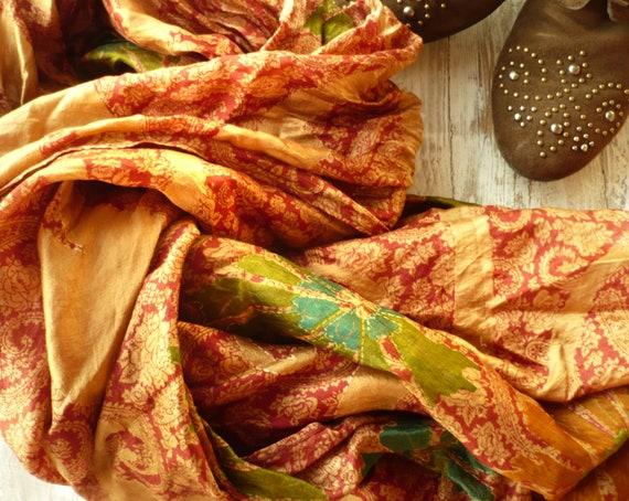 Silk Scarf Neck.shawl autum orange woman accesories Recycled Silk Sari Nao