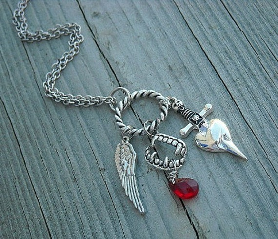 Charm Necklace, Vampire, Fangs, Wing, Heart, Dagger, Red, HAB,