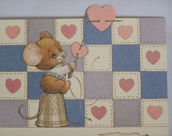3 Vintage Current Ruth Morehead Thumble Mouse Just A Notes and Seals
