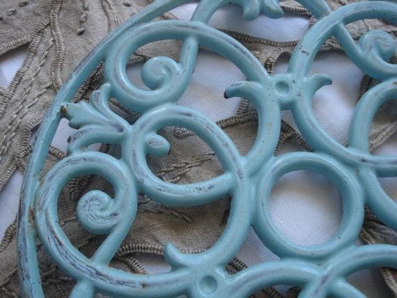 RESERVED RESERVED RESERVED Vintage large french aqua metal ornate trivet