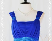 Beautiful Night - Wedding Bridesmaid Party Cocktail Prom Dinner Dress Royal Blue With Hand Sewn Sparkle Diamond Beads Gathered Top S