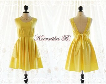 Lemon yellow dress yellow party dress yellow prom dress yellow cocktail dress bow back dress yellow bridesmaid dresses yellow backless dress
