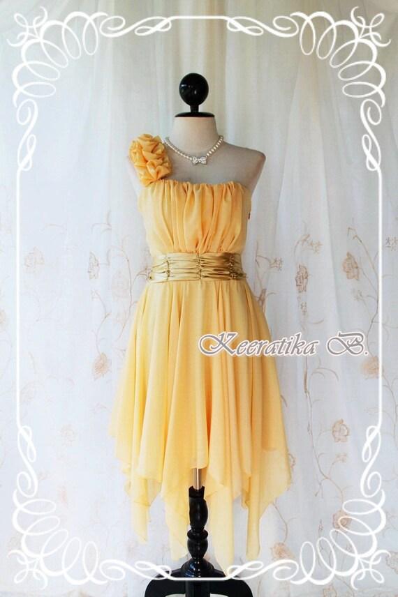 Juliet's Party - Sun Flower Yellow Cocktail Dress One Shoulder Strap Pleated Top Asymmetric Sharp Hem Prom Party Wedding Bridesmaid M-L