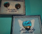 Jewels of the Sky Vintage Clip Earrings & Pin Set Made from Real Butterfly Wings In Original Boxes