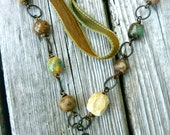 Coffee. Earth tone ceramic necklace. Antiqued brass chain &  jade gemstone. Wire wrapped. OOAK. Coffee ceramic pendant. Silk ribbon.