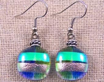 Dichroic Earrings Rock Drop Dangle - Blue Green Pink Teal Layered Fused Glass - Silver Accent Beads Surgical Steel French Wire or Clip Ons