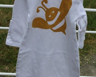 Gold Bee Screenprinted on White Gown