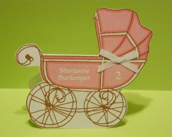 Baby Shower Place Card - Carriage, Pram, Baby Buggy, Free Standing, Seating Cards, Baby Girl, Baby Boy