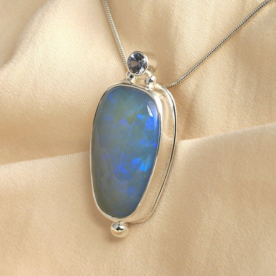 Opal Sapphire Pendant Necklace in Sterling Silver - Green Blue